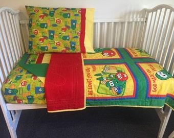 VeggieTales Boutique 4pcToddler Neutral Bedding Set