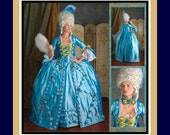 MARIE ANTOINETTE GOWN-Historical Sewing Pattern-Low Décolletage-Full Skirt-Petticoat-Cape-Neck Ruffle-Ruffles-Lace-Bows-Uncut-Size16-24-Rare