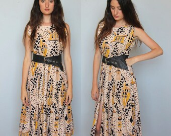 cameroon nights -- vintage 70s aftrican day dress with dramatic slits -- size L/XL