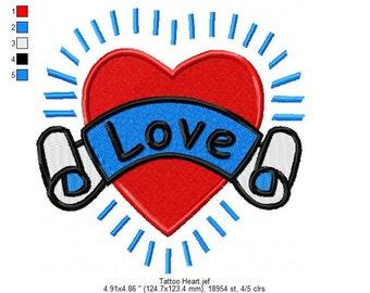 Heart Sailor Tattoo Embroidery Design