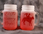 Western Wedding theme Bride and groom on horseback jar glass set of 2 in clear
