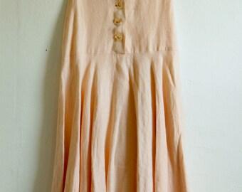 High Waisted High end Pink Linen Skirt
