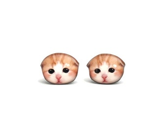 Newborn Orange White folded-ear Kitten Cat Stud Earrings / cat earrings / cat jewelry / cat lover / kitten / cute earrings /  A025ER-C43