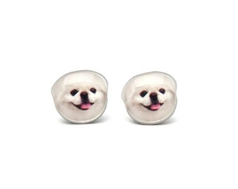 Cute White Pekingese  Dog Stud Earrings - A025-D39  Made To Order