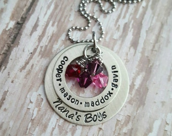Custom hand stamped two layer  washer style necklace