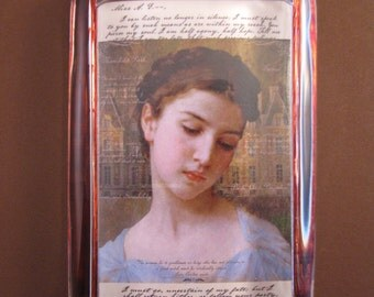 Jane Austen, Austen Paperweight, Regency Portrait, Austen Collage, Large Rectangle, Glass Paperweight, English Home Decor, Desk Accessory