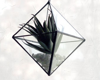 Hanging Octahedron Pyramid Glass Terrarium- Modern Geometric - Stained Glass Decor - Home Decor