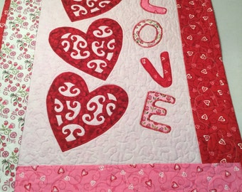 Applique Scroll Hearts Fiber Art Quilted Wall Hanging