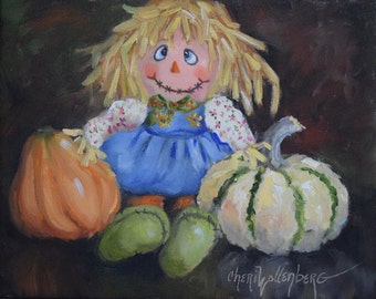 Still Life With Scarecrow Girl And Decorative Gourds,Original Oil Painting,Still Life Art,Canvas Art by Cheri Wollenberg