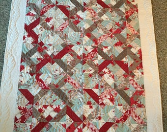 Teal and red lap quilt  50 x 59 free shipping