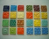 24KLT - COLORFUL Stamped SQUARES - Ceramic Mosaic Tiles