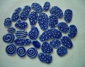 X28 - Super THIN 28 pc BLUE Water Circles - Ceramic Mosaic Tile Set