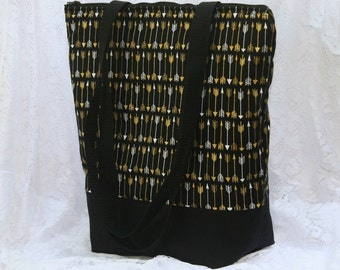 Ready To Ship Arrows on Black Fully Insulated Lunch Bag-Tote-Eco- Friendly and Washable-Water and Mildew Resistant Interior -Large-Tall Size