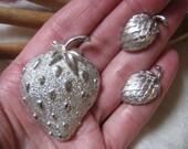 Vintage silvertone strawberry brooch, silvertone strawberry pin Trifari clip earrings, silvertone pin earrings set, Sarah Coventry Trifari