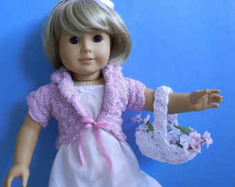 American Girl AG doll clothes - lilac cropped cardigan & basket for flower girl Wedding