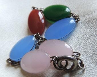 sterling silver glass stone bracelet