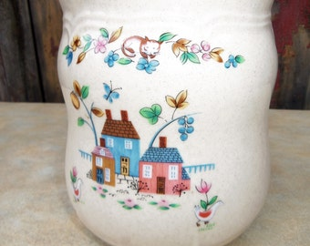 """Vintage 8 3/4"""" Sugar Canister Heartland International China Stoneware Farmhouse Kitchen Canister sheep flowers"""