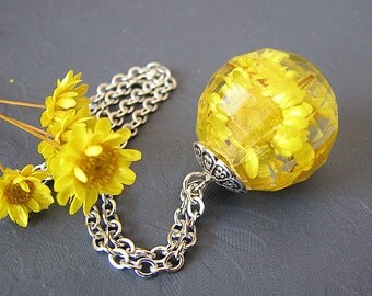 Real Flower Jewelry Resin Jewelry Resin Necklace Yellow Necklace Real Flower Necklace Gift For Her