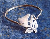 Vintage Sterling Silver Wire Bracelet w/ Female Symbol and Flower - Hook-and-Eye Closure - Cut-Out Feminine Woman Design - Abstract Floral