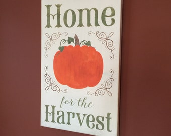 Pumpkin sign - Wooden sign - Pumkin wooden sign - Fall - Fall sign - Home for the harvest - off white and orange wooden sign - Home