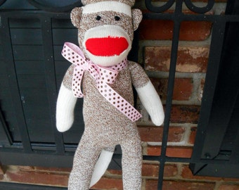 Pink Trim Doll Sock Monkey new original Rockford red heel, 23 inches classic  Baby and Children Friendly Will Personalize