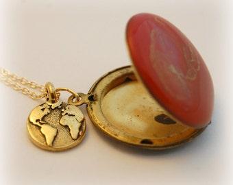 Sun Locket Earth Necklace Planetarium Planets Red Gold Vintage Lockets Travel World Globe Long Necklaces Space Custom Enamel Jewelry Photos
