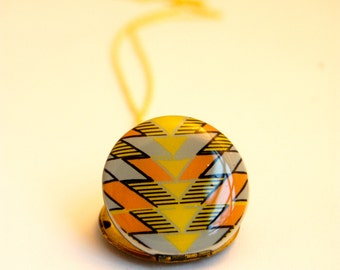 Locket Necklace Arrowhead Alyson Fox Geometric Yellow Orange Gold Vintage Necklaces Gifts Pattern Arrows Personalized Lockets Necklaces Art