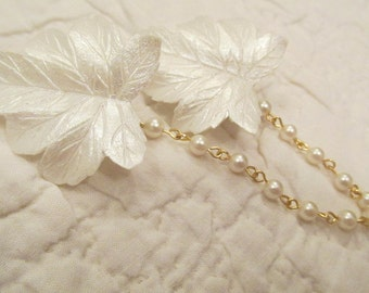 Retro Sweater Clip Leaves with faux pearls sweater guard