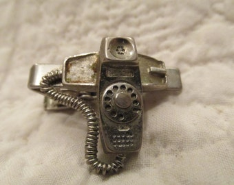 Vintage Retro Phone Tie Clip Old Dial up Telephone SALE