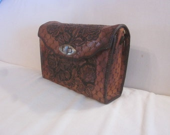 Vintage 50s Hand Tooled Leather Hand Bag