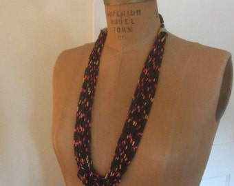 Vintage 70s Long Multi Strand Seed Beaded Necklace