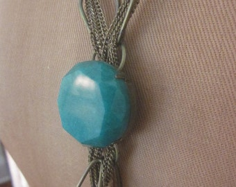 Vintage Faceted Glass Lariat Style Necklace with Length