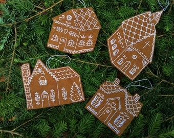 Gingerbread House Ornaments /Hand stitched Wool Felt Christmas Decorations