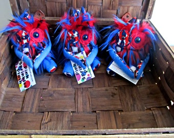 Handmade Plush Monster Minis in Red with Blue and Black Spike Faux Fur