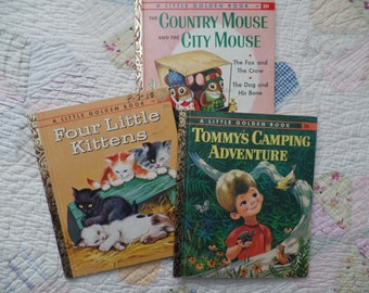 Vintage Little Golden Books Four Little Kittens Tommy's Camping Adventure Country Mouse