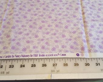 Lavender off White Floral Quilt Cotton Grandmas Garden just under 1yd see desc