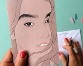 Nadia Aboulhosn Greeting Card // female pencil portrait, eyebrow game strong, plus size beauty, celebrate curvy women