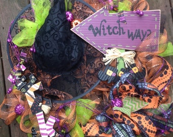 WITCH WAY wreath, Halloween wreath, check deco mesh wreath, burlap ribbon- Halloween wreath