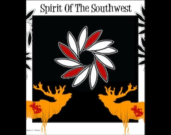 Southwestern Poster Style Art, Rustic Bugling Elk, Tribal Cabin Home Decor, Black Yellow Red, Typography Wall Hanging, Giclee Print, 8 x 10