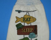 Fishing hanging kitchen towel,  double crochet top towel,  kitchen dish towel