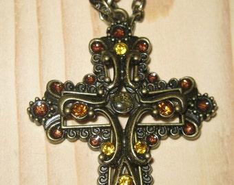 Large cross pendant necklace