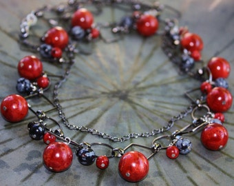 Aurora Red Sponge Coral Necklace. Jewelry Gift For Her. Coral, Black Onyx, Snow Flake Obsidian Necklace. MERRY BERRIES.