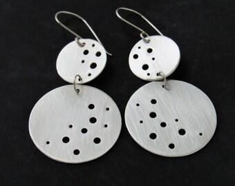 Silver Chandelier Earrings, Moon Inspired, Large Earrings, Sterling Silver Jewelry, Moon Earrings, Space Jewelry