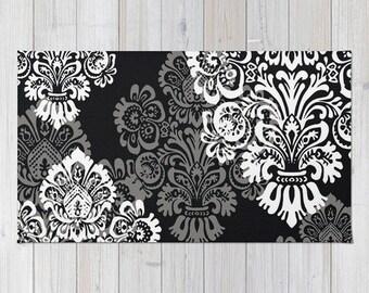 Superior Bohemian Rug, Floor Rugs, Black Damask, Dark Tone, Neutral, Bold Romantic