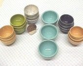 Miniature Pottery Bowls, Hand Turned Mini Clay Bowl, Light Blue Glaze