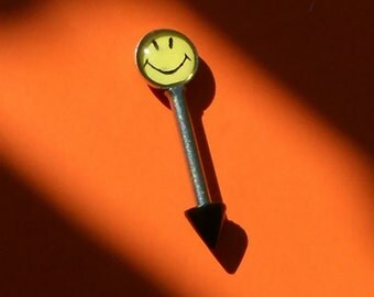 Smiley Face, Eyebrow Barbell, Brow Jewelry, 16 gauge, Yellow and Black
