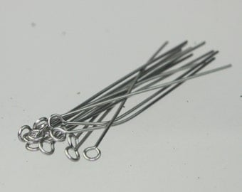 50 Stainless Steel Eyepins Eye Pins Headpins - 2 inch (50mm) 21 Gauge 21G
