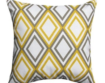 Premier Prints Annie Corn Yellow and Kelp Slub Diamond Decorative Throw Pillow Free Shipping