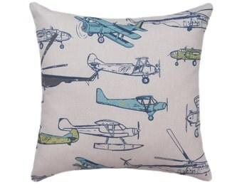 Vintage Planes Pillow, Air Vintage Felix STUFFED Decorative Throw Pillow, Blue, Green, Gray Accent Pillow, Nursery Pillow - Free Ship