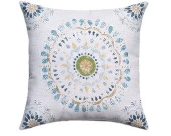 Medallion Throw Pillow - Color Wheel Rain STUFFED Throw Pillow - Robert Allen Accent Throw Pillow in Blue Tan Green Pale Yellow - Free Ship